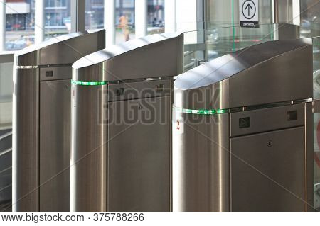 Moscow, Russia - October 03 2019: A Row Of Automatic Gates On The Subway System In Moscow. Exit From