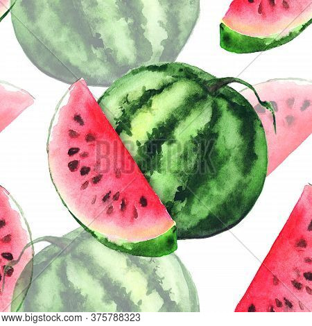 Watercolor Watermelon Slice Fruit Berry Seamless Pattern Texture Background
