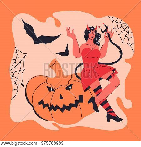 Halloween Card Or Poster Template With Sexy Devil Girl In Red Flat Vector Illustration.