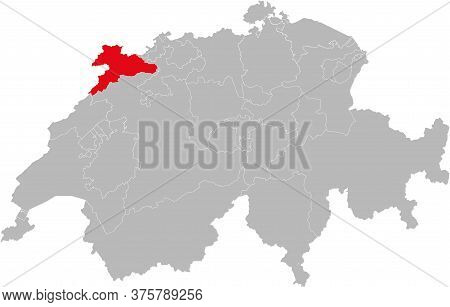 Jura Canton Isolated On Switzerland Map. Gray Background. Backgrounds And Wallpapers.