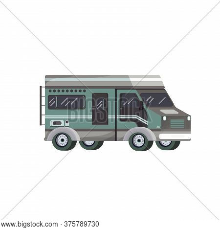 Vector Flat Style Off-road Travel Green Car On White Background.