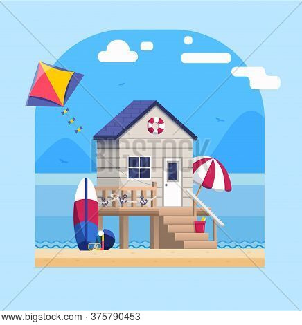 Sea Side Landscape With Beach Bungalow In Flat Style Vector Illustration. Beach Home Building With S