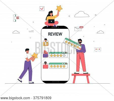 A Group Of People, Men And Women Evaluate And Put Positive And Negative Reviews Near A Giant Smartph