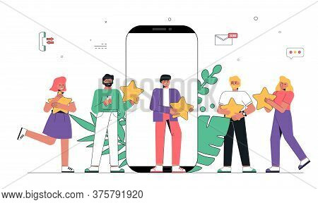 Mobile App Feedback, People Holding Five Stars In Hands.customer Reviews Concept Illustration Concep