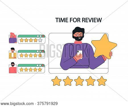 Concept Illustration Of Customer Feedback, Reviews And Support. A Man With Phone In His Hands, Holdi