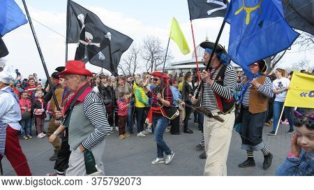 Odessa, Ukraine - 04 01 2019: Brave Medieval Warriors Costumed Pirates March Down The Street On The