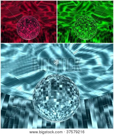RGB Color Disco Ball On The Ceiling
