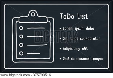 Todo List On Blackboard Background With Check List Icon, Vector Eps10 Illustration