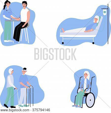 Elderly People Vector Set. Collection Of Elderly Men In The Hospital. Nurse Measures Blood Pressure,