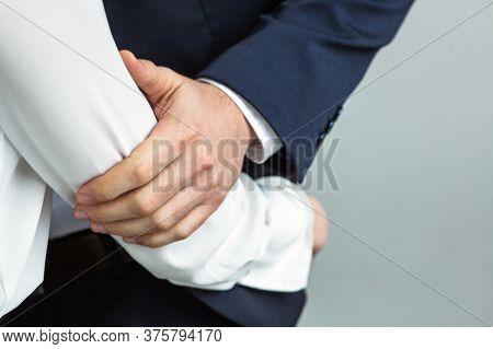 Caucasian Business People, Man And Woman Touch And Hug Each Other. Love Affair At Office Workplace C