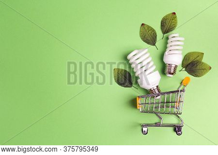 Shopping Trolley With Energy Saving Lightbulb And Copy Space. Saving Energy Concept.