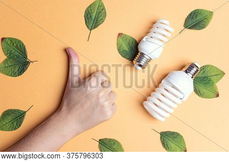 Thumb Up Sign Gesture Hand And Energy Saving Lightbulb. Ecology Environment And Saving Energy Concep