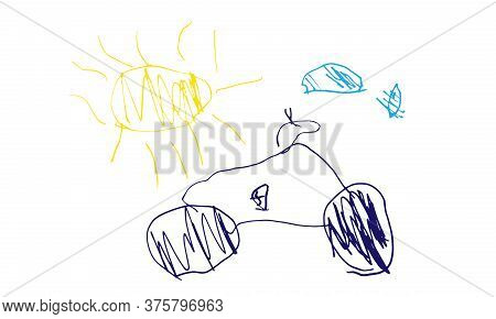Child Drawing Of Car And Sun And Clouds. Drawing Of Four Year Child. Vector Illustration