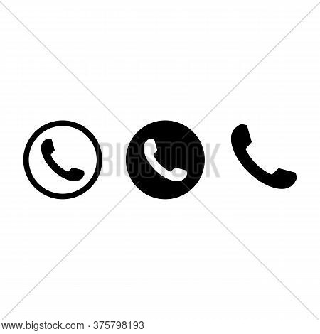 Call Set Icon With Black Color And White Baground