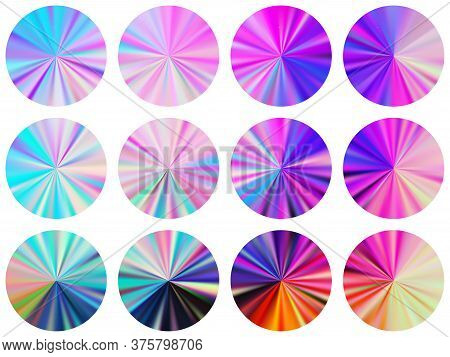 Radial Metallic Gradient Label Elements Vector Collection. Polished Decorative Medal Shapes. Button