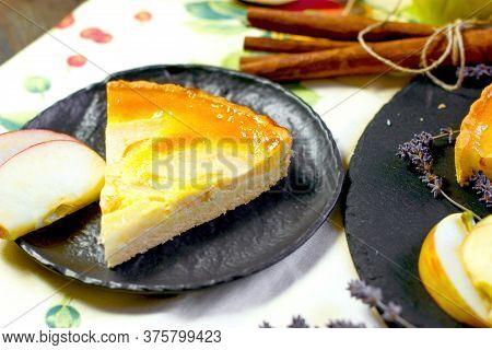 Slice Of Apple Pie, Apple Tart Pie On Plate Closeup