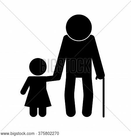 Grandfather And Granddaughter Avatar Silhouette Style Icon Design, Family Relationship And Generatio
