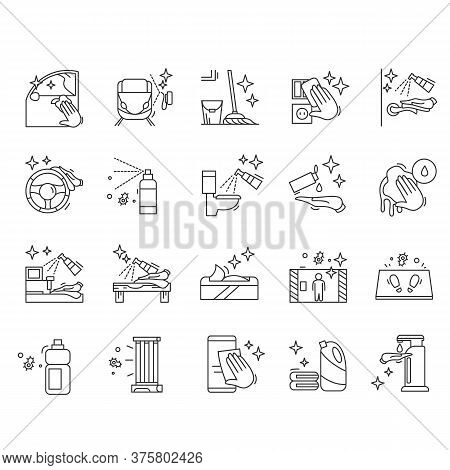 Surface Disinfection Icons Set.housekeeping And Leaning Line Pictograms.home, Public Areas And Trans