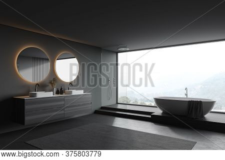 Corner Of Stylish Panoramic Bathroom With Gray And Wooden Walls, Concrete Floor, Comfortable Tub, Sh