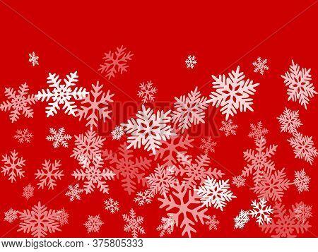 Winter Snowflakes Border Minimal Vector Background.  Macro Snowflakes Flying Border Graphics, Holida