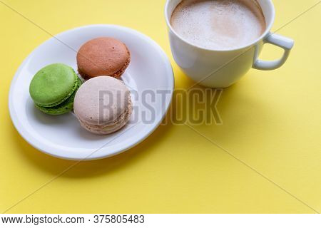 Set Of Colorful Macaroons And Coffee.pastries, Confectionery And Coffee Cup With Splash. Cookies, Ma