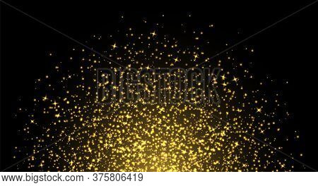 Golden Sparkles, Abstract Luminous Particles, Yellow Stardust. Flying Xmas Glares And Sparks. Luxury
