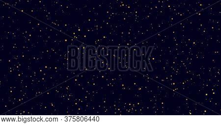 Yellow Sparkles On A Dark Blue Background, Fireflies Flying In The Night. Golden Stardust Light Effe