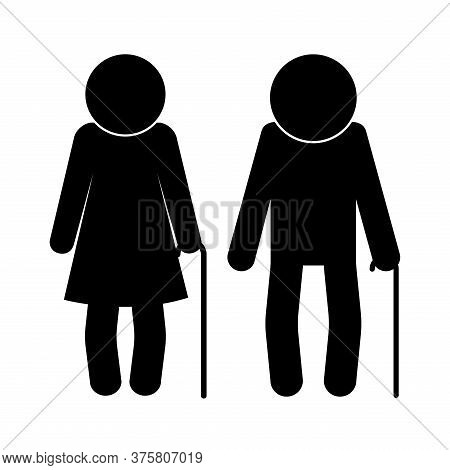 Grandmother And Grandfather Avatar Silhouette Style Icon Design, Old Woman Man Female Male Person Mo