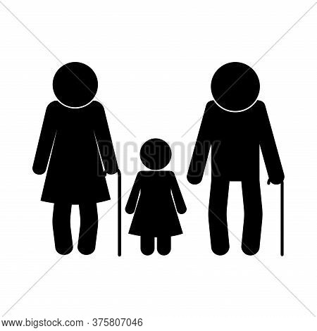 Grandmother Grandfather And Granddaughter Avatar Silhouette Style Icon Design, Family Relationship A