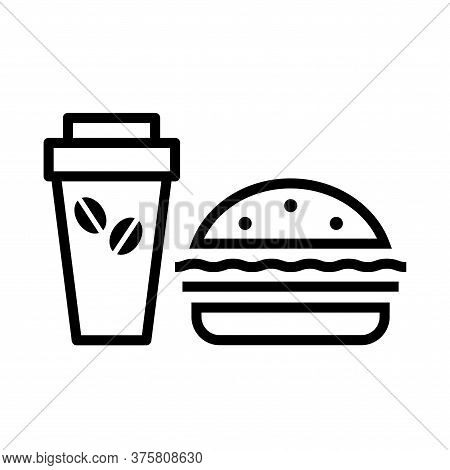 Coffee Maker And Hamburger. Icon On The Theme Of Food And Drink. Symbol Cafe And Diner. Vector Isola