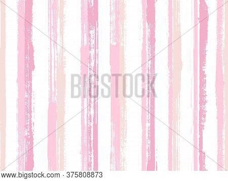 Watercolor Thin Rough Stripes Vector Seamless Pattern. Funky Kids Clothes Fabric Design. Retro Textu