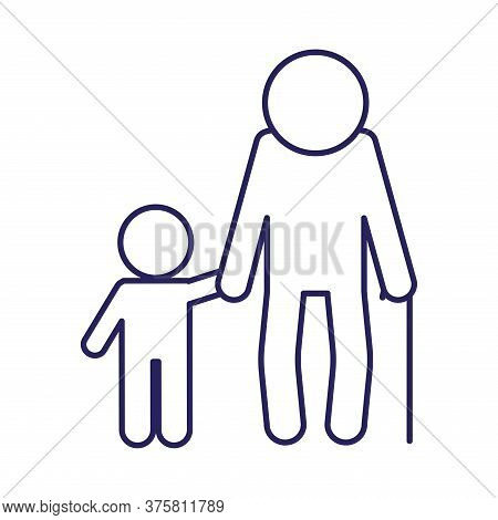 Grandfather And Grandson Avatar Line Style Icon Design, Family Relationship And Generation Theme Vec