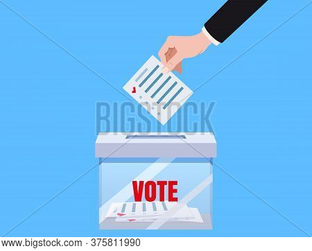 Hand Putting Voting Blanc Paper In Vote Box Transparent, Ballot Campaign. Vector Isolated Illustrati