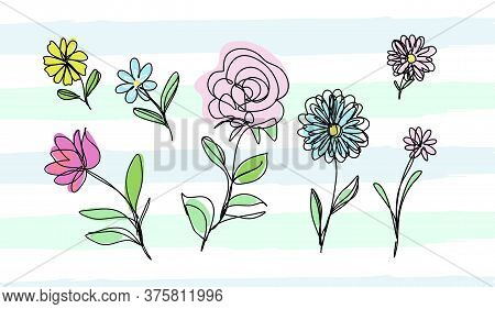 Abstract Flower Set, Continuous Line Art. Vector.