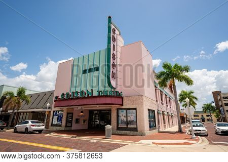Fort Myers, Fl, Usa - July 8, 2020: Photo Edison Theater Fort Myers Florida Usa