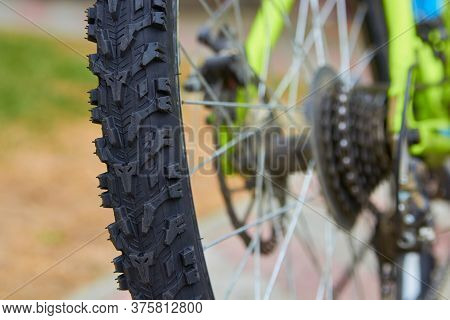 Bicycle Wheel Close Up, New Bicycle Tires View From The Back Close Up