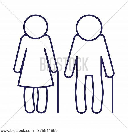 Grandmother And Grandfather Avatar Line Style Icon Design, Old Woman Man Female Male Person Mother F