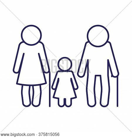 Grandmother Grandfather And Granddaughter Avatar Line Style Icon Design, Family Relationship And Gen