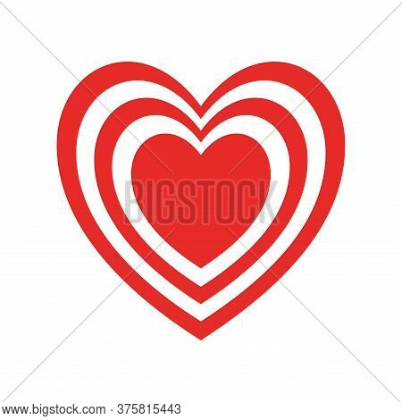 Hearts Inside Heart Flat Style Icon Design Of Love Passion And Romantic Theme Vector Illustration
