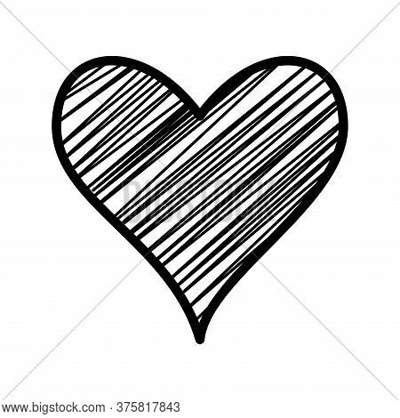 Striped Heart Silhouette Style Icon Design Of Love Passion And Romantic Theme Vector Illustration
