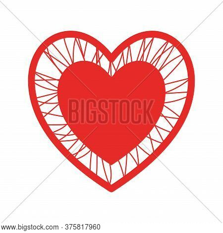 Heart With Crossing Threads Flat Style Icon Design Of Love Passion And Romantic Theme Vector Illustr