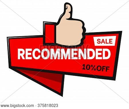 Banner With Thumb Up Hand For Assigning Bestseller