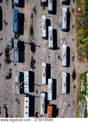 Trolleybuses In The Parking Lot At Depot, Top View