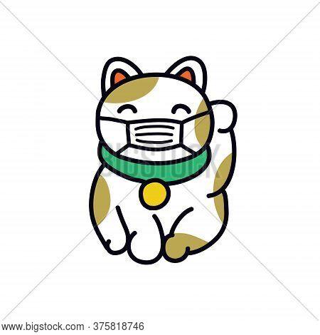 Maneki Neko In A Protective Mask Doodle Icon, Vector Color Illustration