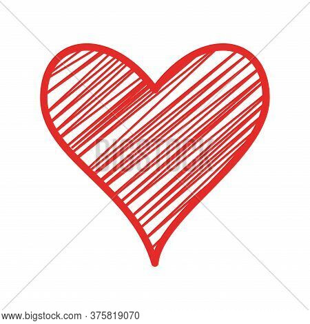 Striped Heart Flat Style Icon Design Of Love Passion And Romantic Theme Vector Illustration