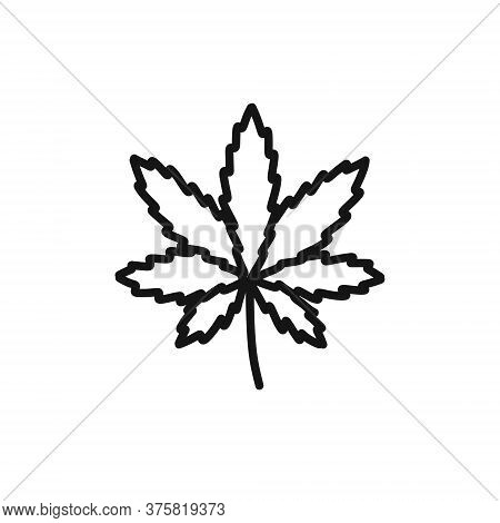 Marijuana Leaf Indica Doodle Icon, Vector Color Illustration