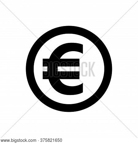 Euro Currency Coin Black For Icon Isolated On White, Euro Money For Symbol