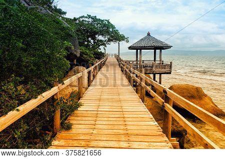 Beautiful View Of A Wood Bridge,wooden Pier