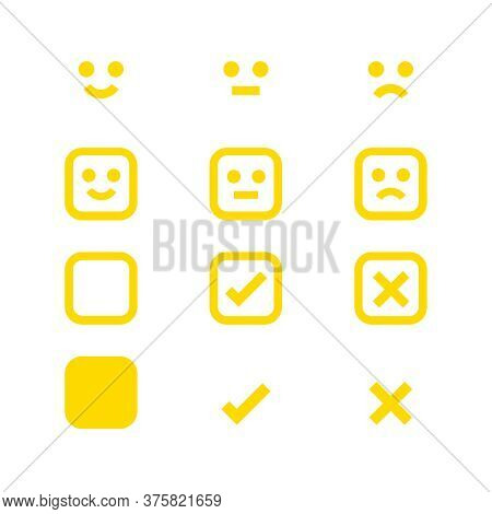 Yellow Icon Emotions Face, Emotional Symbol And Approval Check Sign Button, Emotion Faces And Check