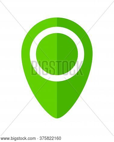 Pin Point Symbol Green For Icon Isolated On White, Modern Green Pin Circle For Location Icon Marker